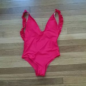 Sexy Ruffled Red One Piece Swimsuit
